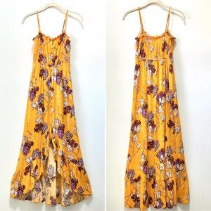 Mango Floral Sleevless Dress Maxi Hi Lo Boho S